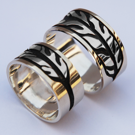 Anishinaabe crane and bald eagle clan wedding rings set