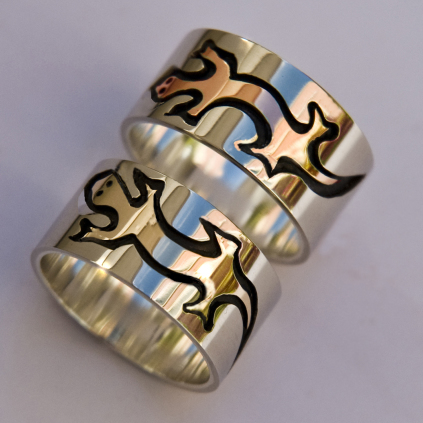 Fisher and Marten clan symbol rings
