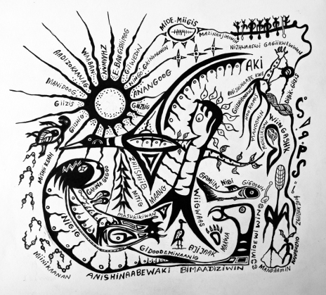 Anishinaabewaki Bimaadiziwin pen and ink drawing by Native Woodland artist Zhaawano