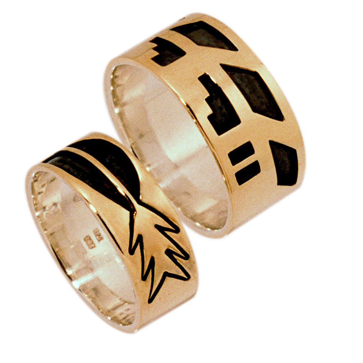 Hopi overlay wedding rings line Courage