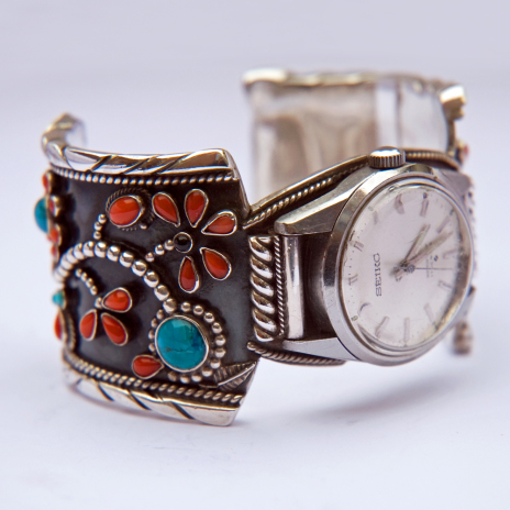 Ojibwe floral design wristwatch band by jeweler Zhaawano Aanjigiizhig