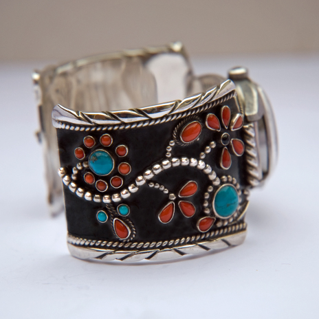 Anishinaabe-style silver wristwatch band designed and handcrafted by Native Woodland Art jeweler Zhaawano
