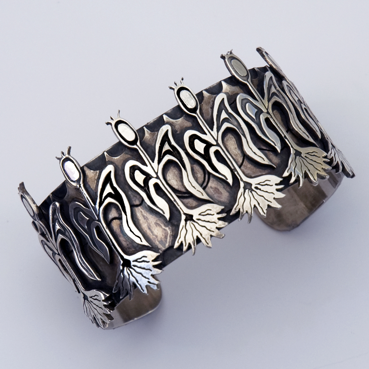 Anishinaabe Mandaamin silver bracelet designed and handcrafted by jeweler Zhaawano