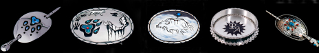 Anishinaabe-style Native American silver belt buckles, hair buckles, and tableware