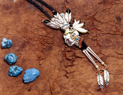 Mishinigig Ogimaa Pontiac bolo tie designed and handcrafted by ZhaawanArt Fisher Star Creations