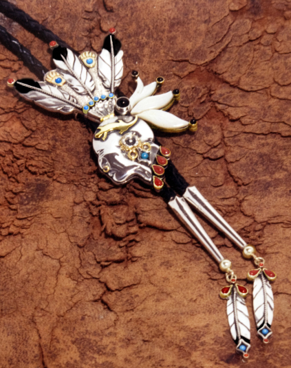 Chief Pontiac Native American silver and gold bolo tie