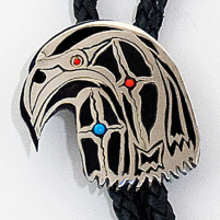 Close-up of the hawk head bolo slide