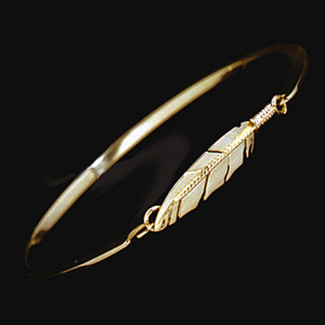 Spirit Flight Native American style ladies' cuff bracelet with eagle feather clasp
