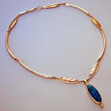 Anishinaabe gold and turquoise necklace Dance of the Sky Woman