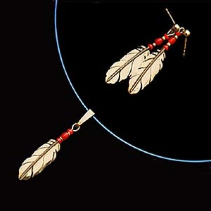 Native American style set of eagle feather necklace and earrings Sky Spirits