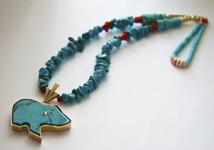 Native American style Bear Fetish necklace designed by jeweler Zhaawano