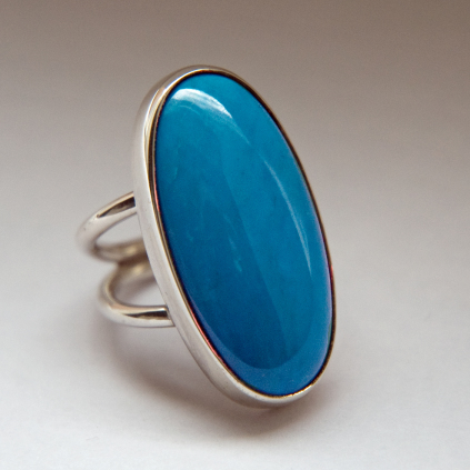 Aabita-niibino-giizis two-prong Native American silver turquoise ring