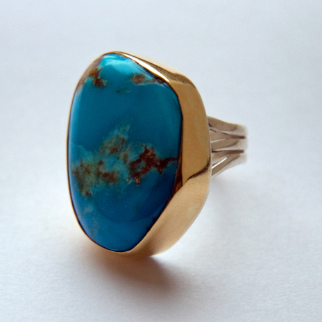 Aanjigiizhig Native american gold turquoise ladies's ring
