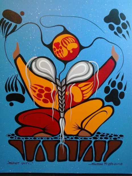 Spirit Unity acrylic on canvas by Anishinaabe Medicine Painter Simone Agnes McLeod