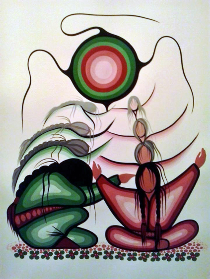 Ojibwe First Nations Woodland painter Simone McLeod acrylic on water watercolor paper Nakodamowin (The Promise)