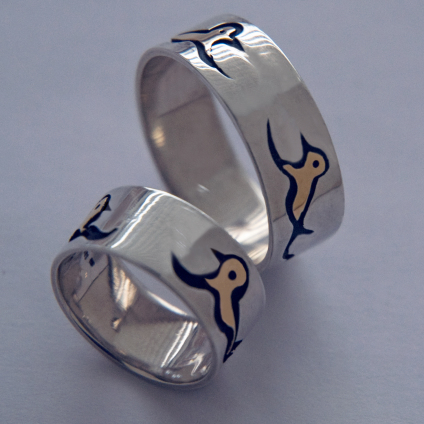 At The Great Lake Singing A Spiritual Song wedding ring set of sterling silver