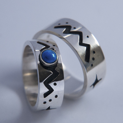 Ojibwe wedding rings Mashkiki Makwa Wajiw