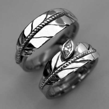Sterling silver Native American style eagle feather wedding ring set Spirit Messenger