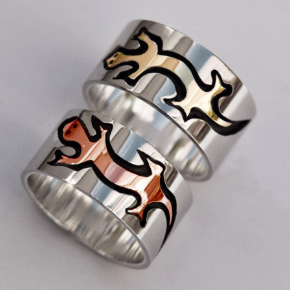Native American Ojibwe style silver weding bands titled Warriors Of The Mind