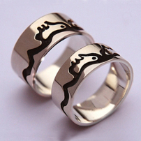 Where Earth And Sky Meet Sterling Silver Anishinaabe wedding rings