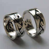 Silver Anishinaabeg Midewiwin Life Path wedding rings by Fisher Star Creations