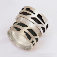 Ojibwe style silver eagle feather wedding rings