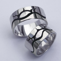 Sterling silver Native American Ojibwe wedding rings My Voice Sounds Across The Great Northern Lake