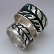 Ojibwe style silver thunderbird feather wedding rings