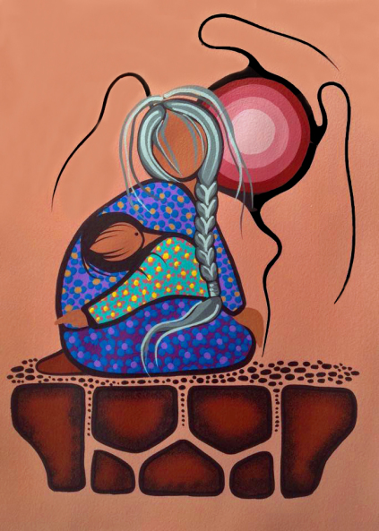 Niganawendaagoz (Protection) acrylic by Ojibwe Medicine painter Simone McLeod
