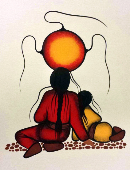 Resting With Granny / Nooko's Blessing #2 Acrylic painting by Simone McLeod