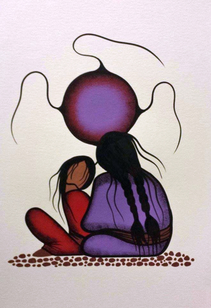 Resting With Granny / Nooko's Blessing #4 acrylic painting by Manitoba artist Simone McLeod