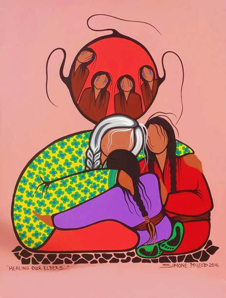 Healing Our Elders acrylic by painting by Simone McLeod