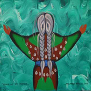 Ninge Nimanaaji'enim (Honouring My Mother) deep-edge textured canvas by Simone McLeod