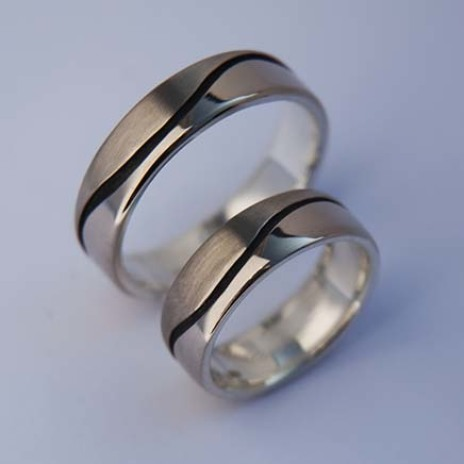 White gold Anishinaabe Midewiwin designer wedding rings Nibi Bimaadiziwin