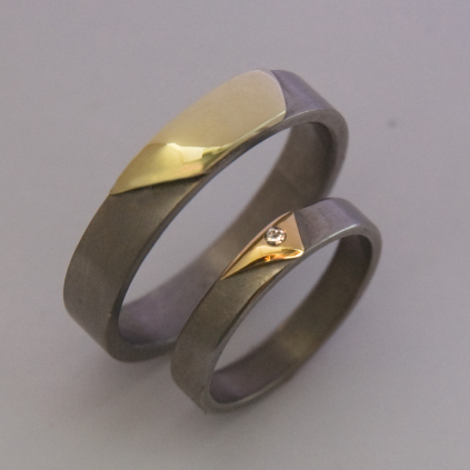Spirit Dunes of Mishigami titanium and gold wedding rings