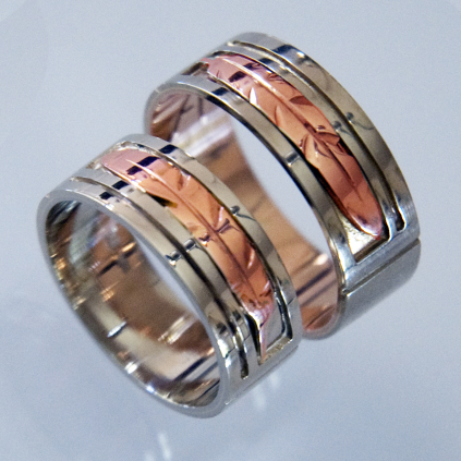 Ojibwe-style Native American eagle feather wedding rings Together on the Red Road