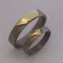 Gold appliqued titanium wedding rings Spirit Dunes of Mishigami