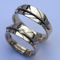 White gold wedding rings A Prayer to the North designed by jeweler Zhaawano Giizhik