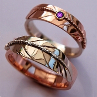 Our Love stems From A Dream Ojibwe eagle feather wedding rings