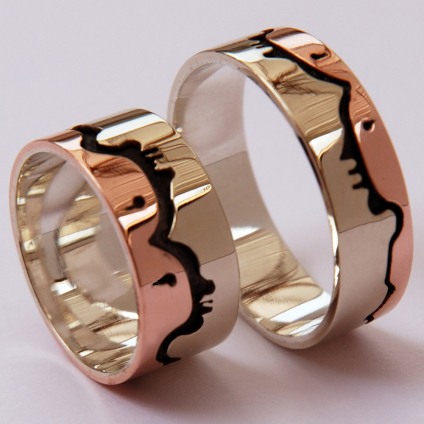 Gizhibaa Giizhig Ojibwe graphic overlay wedding bands