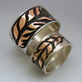Ojibwe graphic overlay wedding bands Binesiwag