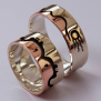 Gizhibaa Giizhig Ojibwe Woodland Art style wedding rings