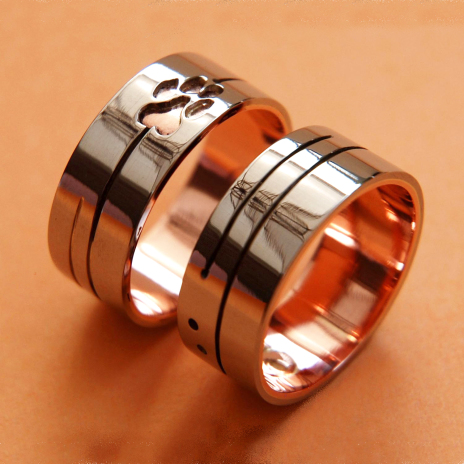 We Are All Realated Anishinaabe pictographic overlay wedding ring set