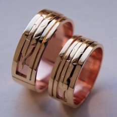 native american gold eagle feather inlay wedding rings - Native American Wedding Rings