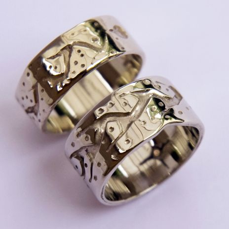 Ojibwe Gashkadin Ziibi wedding rings