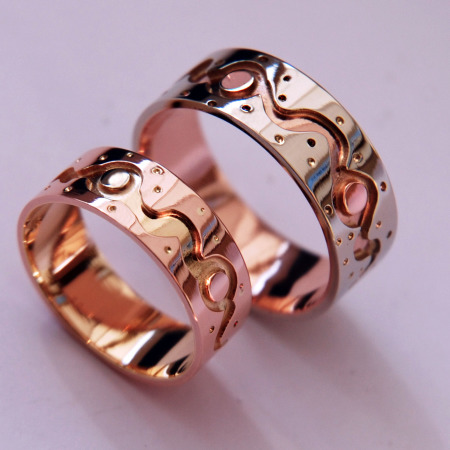 Life Is a Dance Ojibwe multicolor gold overlay wedding rings
