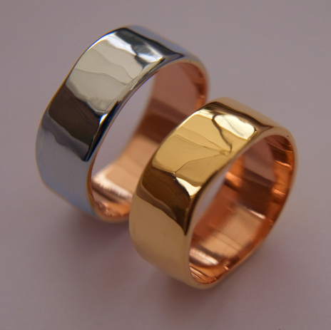Life Is Like A Rocky Hill Road bicolor gold overlay wedding bands