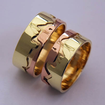 Wedding rings inspired by the traditional Ojibwe tale of the Sleeping Giant