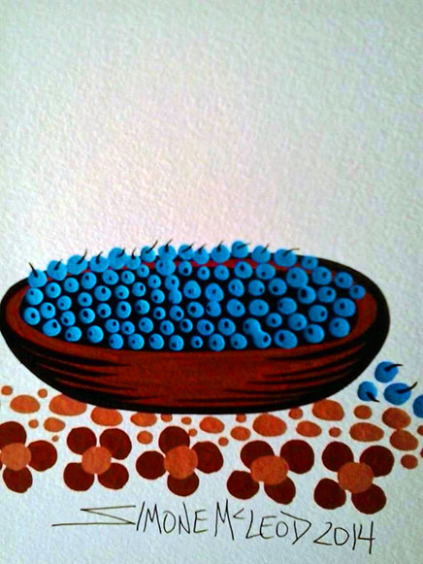 Detail of blueberry painting by Simone McLeod