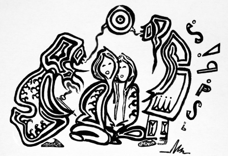 Wiinabozho and the Storytellers' Mirror protosketch by Native Woodland artist Zhaawano Giizhik